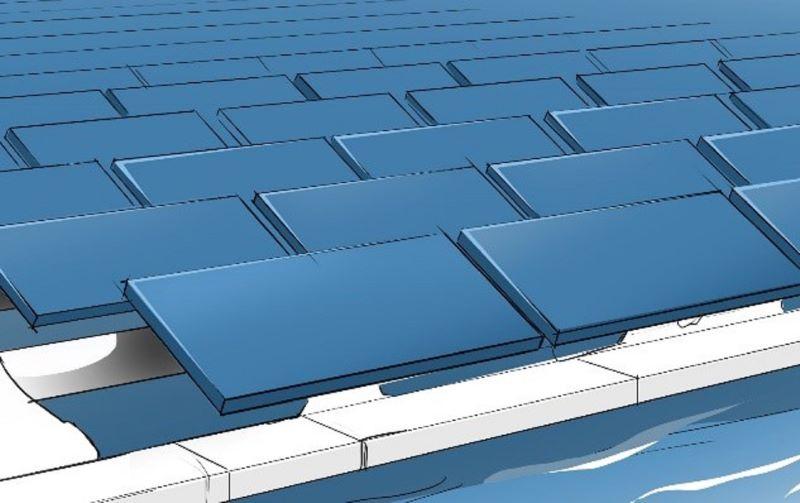 Grafik einer schwimmenden PV-Anlage.
