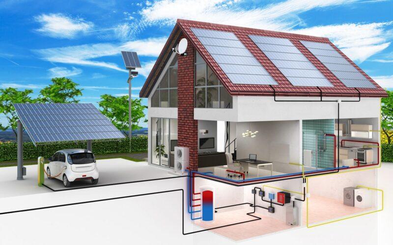 Das Bild zeigt ein schematisch dargestelltes Gebäude, deren PV-Anlage mit PV*SOL premium simuliert werden kann.
