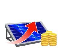 Zu sehen ist eine symbolische Darstellung der Preise für Photovoltaik-Module im August 2021.