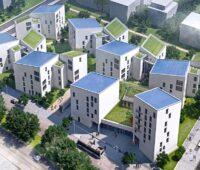 Zu sehen ist eine Animation der Wohntürme von Future Living Berlin.