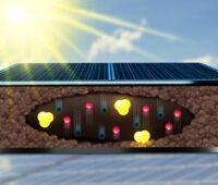 Zu sehen ist eine Grafik, die die Komplexität der Bewegung von Ladungen in Perowskit-Solarzellen zeigen soll.