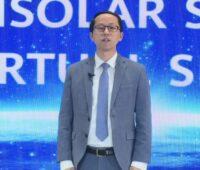 Zu sehen ist Chen Guoguang, Präsident des Huawei Smart PV Business, während der virtuellen Vorstellung der Photovoltaik-Neuheiten von Huawei.