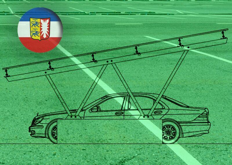 Zu sehen ist die grafische Darstellung eines Solar-Carports wie sie in der Photovoltaik-Pflicht für Parkplätze in Schleswig-Holstein vorgesehen ist.