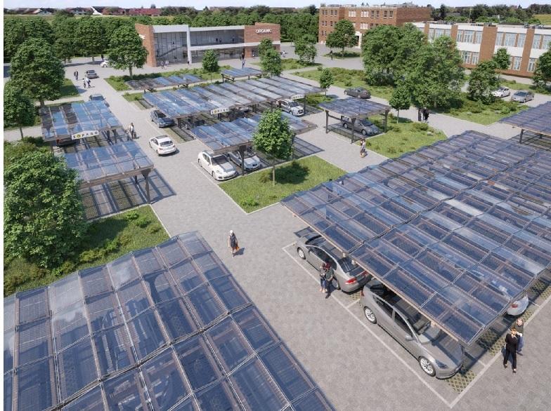Zu sehen ist ein Solar Carport von Sopago, mit dem System können Betreiber auch die Photovoltaik-Pflicht erfüllen, die immer mehr Bundesländer einführen.