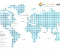 Zu sehen ist eine Weltkarte mit den Standorten der Teststände der an PV Camper beteiligten Forschungseinrichtungen.