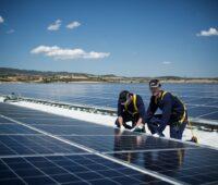 Zu sehen sind Arbeiter auf dem Dach. Es handelt sich um eine der 10 GW installierte Photovoltaik-Leistung von REC.