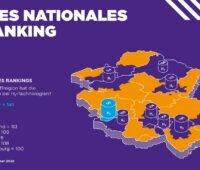 Zu sehen ist eine Deutschlandkarte mit den besten Regionen im Wasserstoff-Ranking.