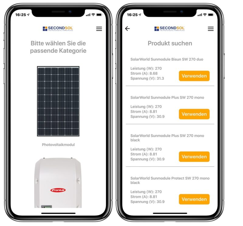Zu sehen ist die Photovoltaik-Ersatzteil-App von SecondSol