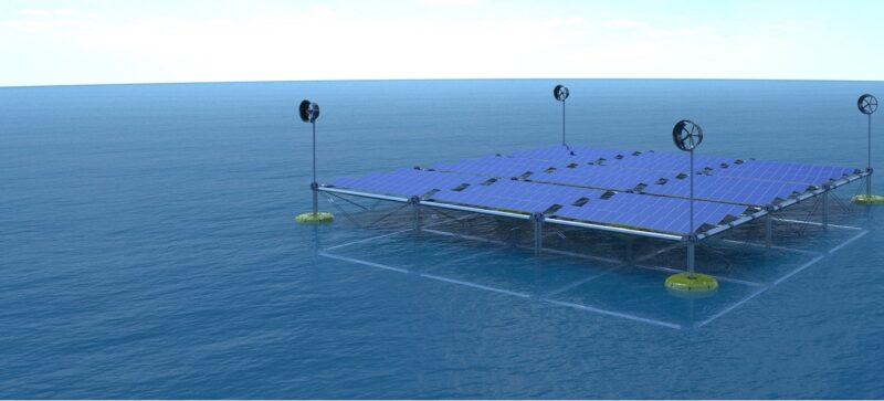 Das Bild zeigt die schwimmende Plattform, die ein Wellkraftwerk mit Photovoltaik und Wind kombiniert.