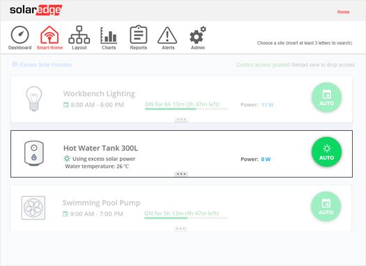 Zu sehen ist die Monitoring-App, mit der der Nutzer seinen Smart Energy Warmwasser-Controller überwachen kann.