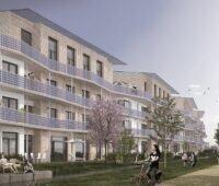 Zu sehen ist die mit Photovoltaik an den Balkonen versehene Fassade der Plusenergie-Klimahäuser von Rolf Disch in der grafischen Animation.