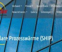 Screenshot von der Internetseite Solare Prozesswärme von Austria Solar