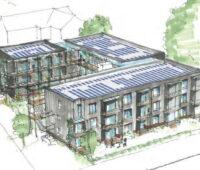 Zeichnung eines Wohnblocks mit Photovoltaikmodulen auf dem Dach.
