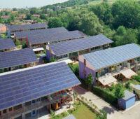 Solarsiedlung des Architekten Rolf Disch in Freiburg - Luftaufnahme