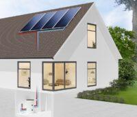 Zu sehen ist ein Haus mit Solaranlage. Das Solarsysteme im Komplettpaket verfügt über Kollektoren mit Wärmeleittechnologie