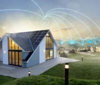 Eine Animation zeigt wie einzelne Häuser mit PV miteinander verknüpft werden.