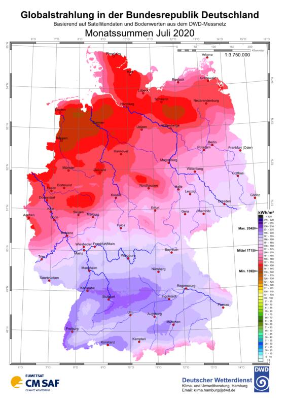 Karte der Sonneneinstrahlung über Deutschland im Juli 2020