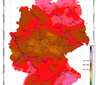 Deutschlandkarte mit den Daten zur Sonneneinstrahlung in Deutschland im August 2020