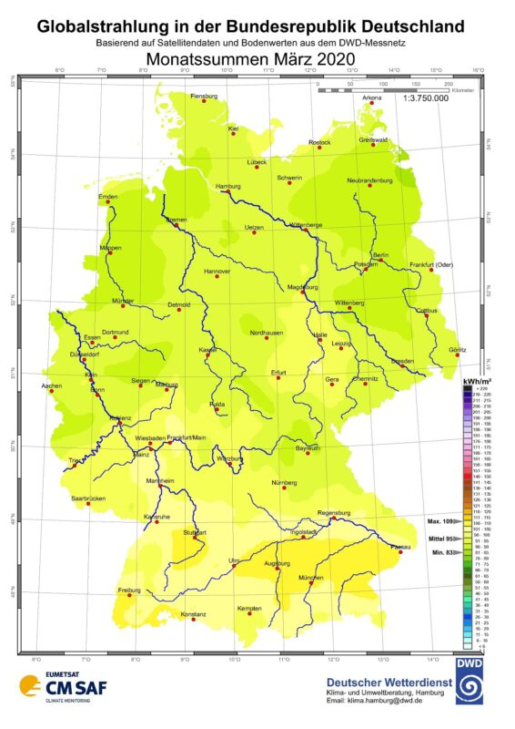 Die Karte zeigt die Sonneneinstrahlung in Deutschland im März 2020