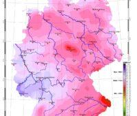 Zu sehen ist eine Karte, die die Sonneneinstrahlung in Deutschland im Mai 2020 zeigt.
