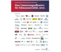 Zu sehen sind die Firmenlogos der Unternehmen, die den Appell zur Umsetzungsoffensive für Klimaneutralität in Deutschland unterzeichnet haben.