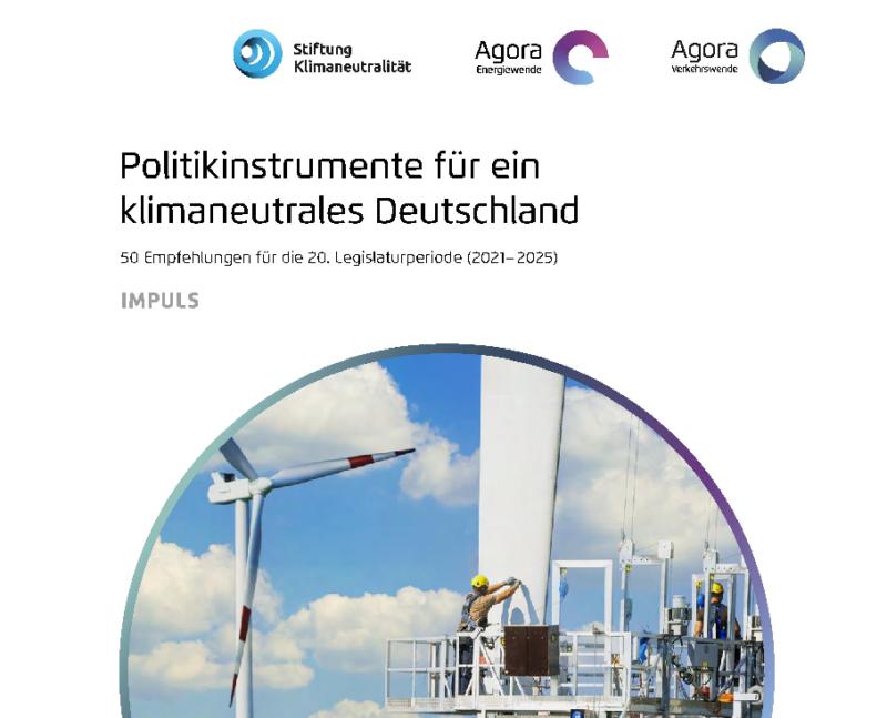 Zu sehen ist das Deckblatt der Handlungsempfehlungen für den Klimaschutz von Stiftung Klimaneutralität, Agora Energiewende und Agora Verkehrswende.