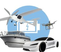 Zu sehen ist eine Grafik mit Auto, Flugzeug, Schiff und Drohne: Anwendungen für die das Kompetenzcluster Batterienutzungskonzepte angepasste Zellkonzepte entwickeln will.