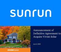 Sunrun erwirbt Vivint Solar im Rahmen einer All-Stock-Transaktion. Zu sehen ist das Deckblatt des Übernahme-Prospekts.