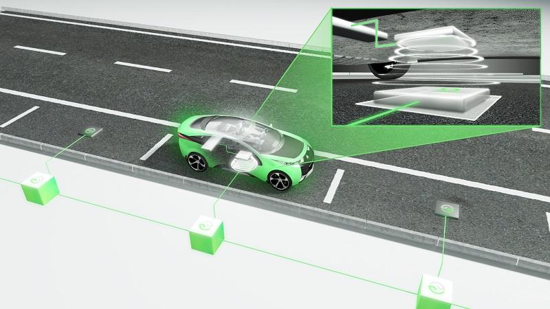 Zu sehen ist eine schematische Darstellung, die induktives Laden von E-Autos zeigt.