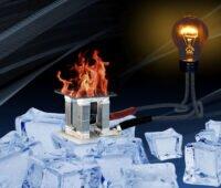 Versuchsaufbau: Thermoelektrischer Generatur auf Eiswürfeln unter einer Feuerschale
