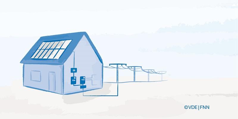 Zu sehen ist eine schematische Darstellung eines Hauses mit Photovoltaik, die PV-Module könnten von Meyer Burger stammen.