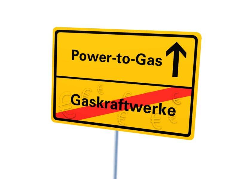 Das Bild zeigt ein Autoverkehrs-Stopschild für Gaskraftwerke und freie Fahrt für Power-to-Gas