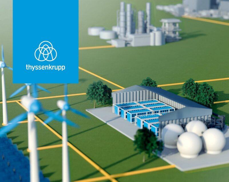 Zu sehen ist eine Grafik, die schematisch die Einbindung der Wasserelektrolyse von Thyssenkrupp in das Energiesystem zeigt.