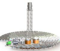 Zu sehen ist eine schematische Darstellung eines solarthermischen Turmkraftwerkes. Solarthermische Kraftwerke mit Salzschmelze als Wärmetrager benötigen ein Temperaturmanagement.