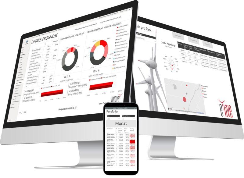 Zu sehen ist die Software e.live für Windparks auf dem Tablet und dem Smartphone.