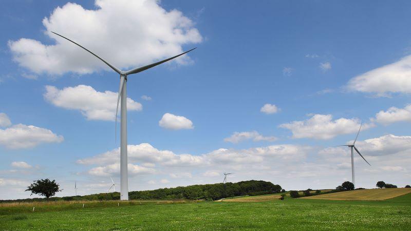 Windkraftanlagen in Wiesenlandschaft mit blauem Himmel und Schäfchenwolken.