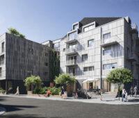 Innovatives Gebäude mit Holzverkleidung
