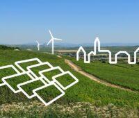 Zu sehen ist eine Wiese mit angedeuteten PV-Modulen und Windrädern als Symbol für den Nah&Grün-Tarif.