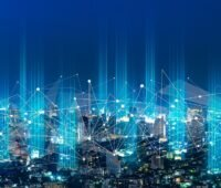 Zu sehen ist eine symbolische Darstellung der digitalisierten Energiesysteme der Zukunft.