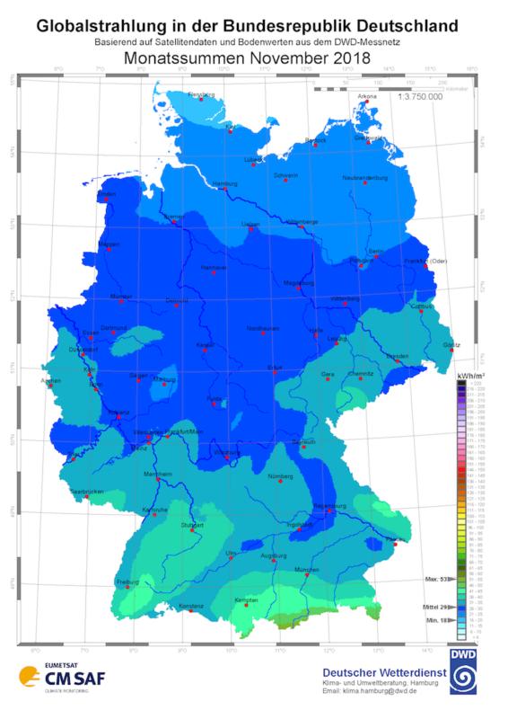 Solarstrahlung November 2018 Deutscher Wetterdienst