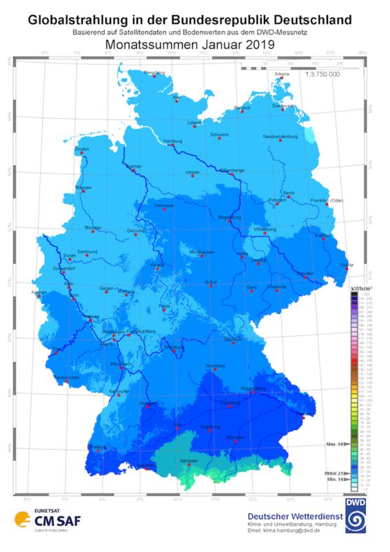 Solarstrahlung Januar 2019 Deutscher Wetterdienst