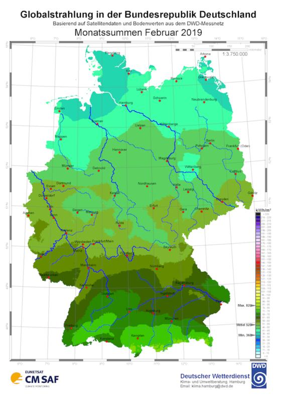 Solarstrahlung Februar 2019 Deutscher Wetterdienst