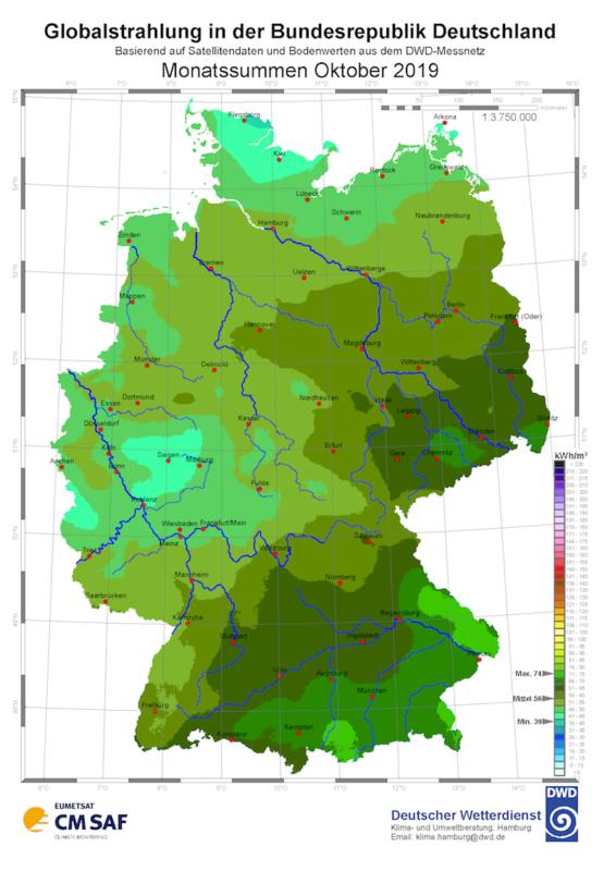 Strahlungsdaten Oktober 2019 vom Deutschen Wetterdienst