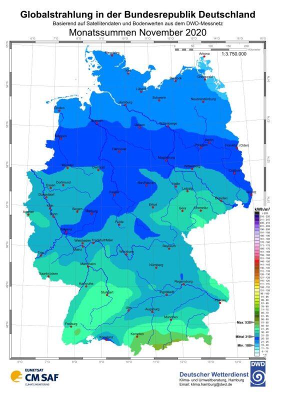 Eine Deutschland-Karte mit Zonen unterschiedlicher Sonneneinstrahlung