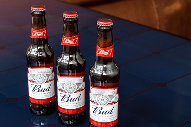 Budweiser-Bierflaschen auf einem Solarmodul