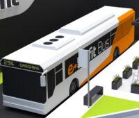 Eine Grafik zeigt einen Elektrobus an einer Haltstelle.