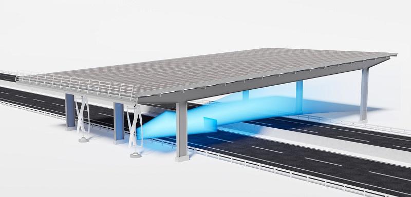 ZU sehen ist das Prinzip des Autobahn-Kombi-Kraftwerks aus Windenergie und Photovoltaik.
