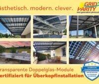 Grid Parity: Ästhetisch Modern Clever, Transparente Doppelglas-Module Zertifieziert für Überkopfinstallation