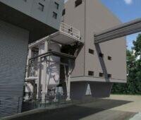 Eine Industrieanlage mit einem Behälter für die mikrobiologische Methanisierung.