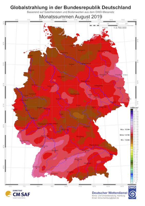 Strahlungskarte: Globalstrahlung in der Bundesrepublik Deutschland, Monatssummen August 2019